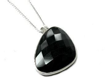 Sterling Silver, Onyx Necklace, Black Onyx, artisan, elegant, modern, boho, fashion, womans, minimalist, gem, triangle drop - Free shipping!