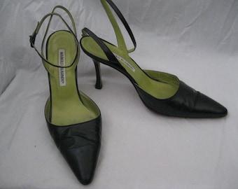 Black/Green Leather Manolo Blahnik Slingbacks Size 36 1/2