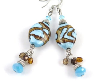 MAJOR MARKDOWN - Southwest Inspired Turquoise Ribbon Torch Bead and Crystal Dangle Statement Earrings