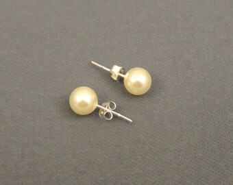 Cream Color 8mm Glass Pearls With Sterling Silver Posts