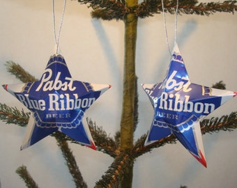 Pabst Blue Ribbon Beer Can Aluminum Stars - Set of 2 Christmas Ornaments  - Ornament Idea For Dad's Man Cave Christmas Tree