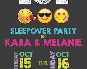 Printable Emoji Slumber Party Invitation