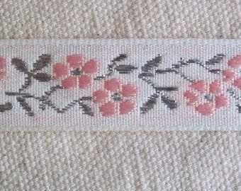 PINK and Metallic SILVER on White Cherry Blossom Ribbon