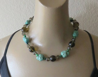 Vintage Turquoise Smoky Quartz Stone Sterling  Necklace.
