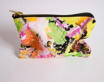 Juno B, Digitally Printed and Hand Embroidered, Silk Lining, Zipper Pouch, Zip Bag, Make up bag, Purse