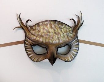 Horned Owl Leather Mask entirely handcrafted Art costume Halloween very lightweight and easy to wear