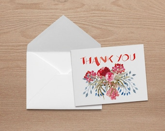Winter - Thank You Note Card Set with Matching Envelopes (5.5 x 4.25)