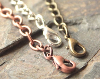 """2"""" Necklace Extender chain Extension chains lengthen necklace longer 2 INCH extender copper brass silver plated extender choose ONE chain"""
