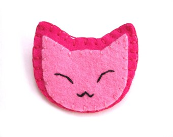 Cute pink cat brooch, pink animal pin, cute jewelry, kawaii kitty, candy pink felt brooch, cute broach, fuschia pink