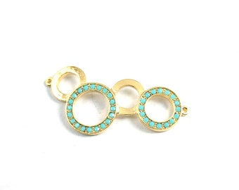 1pc- Matte Gold Plated Four Circle Connector with swarovski connector, charm- 45x20mm (019-027GP)
