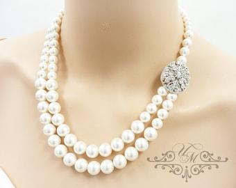 Wedding Necklace Double Strands Swarovski Pearl Necklace Rhinestone Necklace Bridal Necklace Bridal Jewelry Bridesmaids Necklace - MAY