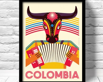 Colombia Poster, Barranquilla travel print, Caribbean travel print, Colombia Carnaval, Caribbean art deco poster, Colombia Art Print