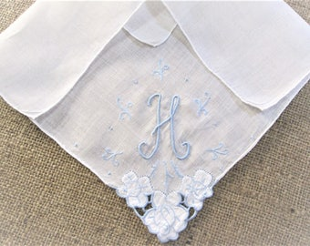 Vintage H Monogram Embroidered Handkerchief Initial Personalized Hankie Monogrammed Bridal Wedding Something Blue Antique Linen Hanky
