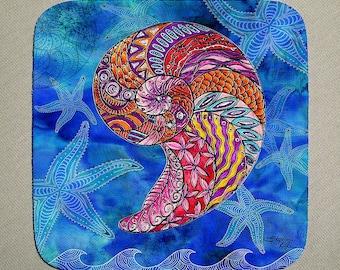 Nautilus Coaster Set of 4, seashell coasters