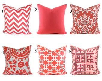 Coral Pillow Covers ANY SIZE Decorative Pillows Pillow Inserts Best Pillow Floor Pillows Euro Pillows Body Pillow Bedding Lumbar You Choose
