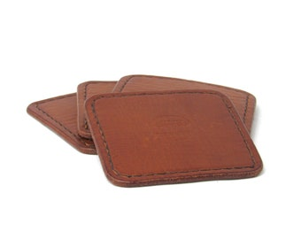 Handmade Hand stitched Full Grain Leather Coaster Set of 4