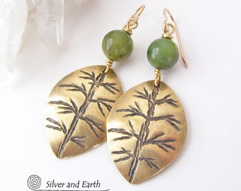 Gold Leaf Earrings, Green Jade Earrings, Brass Earrings, Green Stone Earrings, Handmade Nature Jewelry, Nature Gift for Her, Earthy Jewelry