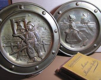 Pair of Brass Wall Pocket Plaques - Dutch Boy - Dutch Girl
