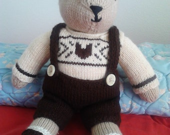 Knitted Teddy Bear 20 inches tall, soft and cuddly.