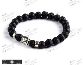 Stainless Buddha head and lava stones bracelet
