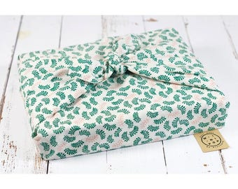 Furoshiki in organic cotton GOTS leaves zero packaging waste, durable, eco-friendly, reusable, 75 x 75 cm.