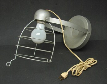 Vintage Industrial Cage Light Lamp Wall Mount Table or Hanging Lamp Bretford TD-6