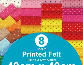 8 Printed Felt Sheets - 40cm x 40cm per sheet - pick your own colors (PR40x40)