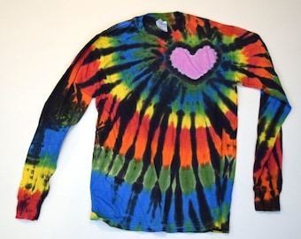 Love More Not Less ~ Tie Dye Longsleeve Shirt (Gildan Heavy Cotton Longsleeve Size S) (One of a Kind)