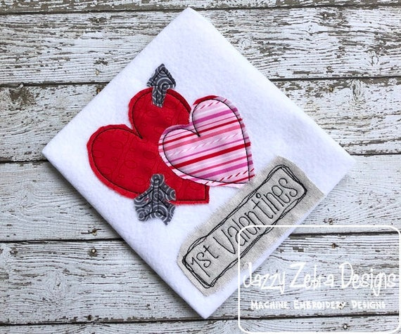 1st Valentines Shabby Chic applique embroidery design - Valentines appliqué design - 1st Valentines applique design - heart appliqué design