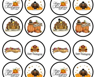 Thanksgiving Edible Wafer Rice Paper Cake Cupcake Toppers x 24 PRECUT