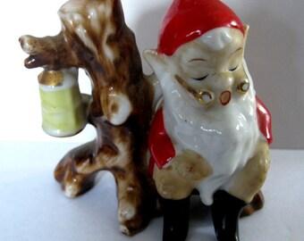 Vintage Ceramic Christmas Elf/Pixie Sleeping Sitting Up With Haning Lantern Marked Japan