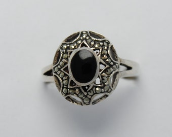 Onyx and marcasite ring and sterling silver, onyx vintage ring, onyx rings, vintage rings, onyx rings, onyx and marcasite, onyx, vintage