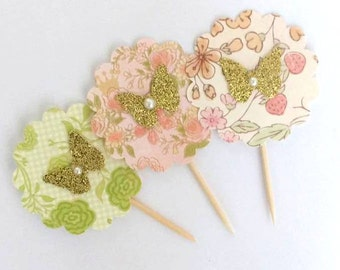 12 mixed Tea party cupcake topper - pretty floral printed cupcake topper - tea party