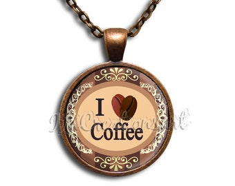Coffee Lover Glass Dome Pendant or with Chain Link Necklace BF114