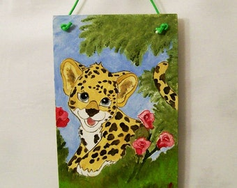 Leapard and Rloses Oil Painting  for Kids,Kids Wall Hanging, 6x12 Oil Painting, Wood Plaque for a kids room,  Made in the USA, #15