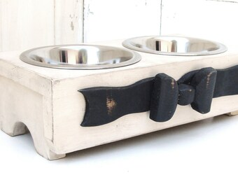 Elevated Dog Bowl Feeder, Raised Cat Feeder, Dog Bowl Stand, Elevated Dog Feeder, Feeding Stand, Ribbon Bow Accent, Antique White Custom