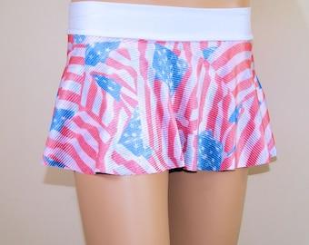 Red White Blue American USA Flag Circle Twirl Skirt Adult Medium- MTCoffinz - Ready to Ship