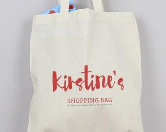 shopping bag, personalised, grocery bag, kids bag, book bag, market bag