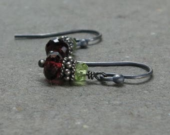 Red Garnet, Peridot Earrings Oxidized Sterling Silver January, August Birthstone Gift for Her