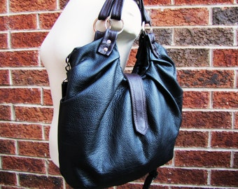 Large Black leather satchel convertible backpack to messenger and cross body bag - Pleated bag
