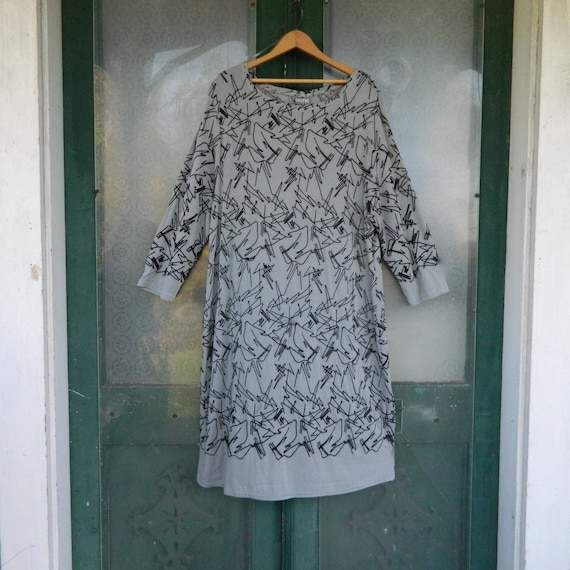 SALE - Niche Nilgun Derman Cable Car Dress -XXL- Gray Moon with Black Embroidery Viscose/Spandex NWT