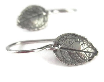 Small Leaf Earrings in Sterling Silver Tiny Botanical Dangle, Hook or Leverback