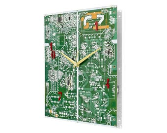 Large Circuit Board Wall Clock, Modern Industrial Look with alternate digit placement