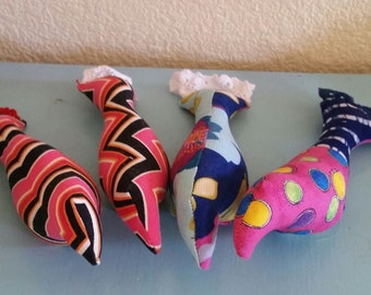 Eclectic OOAK Bird Cat Toys with Catnip Blue and Pink Polka Dot, Black and Pink Chevron