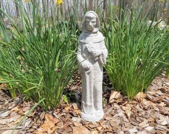"""14 1/2"""" Cement St Saint Fiacre Garden Art Concrete Statue Saint of Gardening"""
