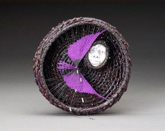Woven Wall Hanging, Moon Wall Sculpture, Pine Needle Basket - Purple Bird Catches the Blackberry Moon, Aubergine, Deep Purple, Eggplant