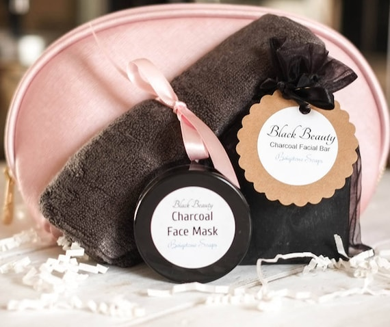Black Beauty Set in Pink Gold Zip Cosmetic Case | Charcoal Soap Bar and Facial Mask w/ Oversized Slate Grey Bamboo Washcloth
