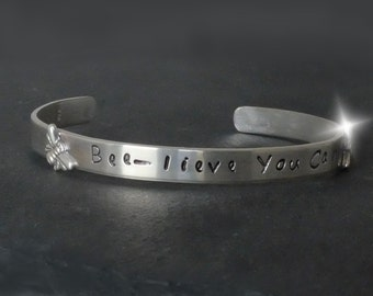 Bangle with Bees, Believe You Can Bangle, Motivational Bangle with Bees, Personalised Silver Bangle, Bee Jewellery, Bracelet with Bumble Bee