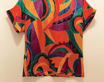 80s Abstract Blouse