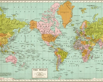 LARGE Antique Map of the World Map, Art Print of old map,